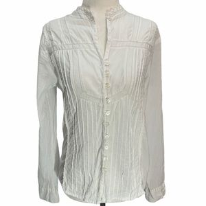 Faded Glory White🌸Cotton Button Front Blouse Top